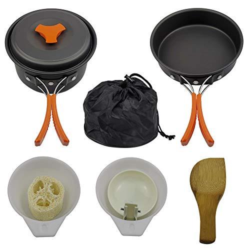 Juego de utensilios de cocina para camping, camping, utensilios de cocina para pícnic, juego de sartenes de camping, ollas de viaje, senderismo, al aire libre, equipo de cocina, color naranja