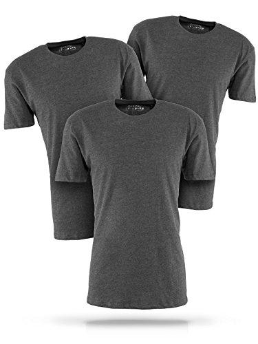 Basic T-Shirt Herren grau mit Rundhals - 3er Pack Shirts aus Baumwolle einfarbig (L, grau)