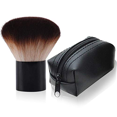 Kabuki Face Brush Professional Mushroom Shaped Soft Foundation and Powder Makeup Brush with Black Travel Bag for Mineral Blending Blush Buffing or Nail Arts Dust Clean