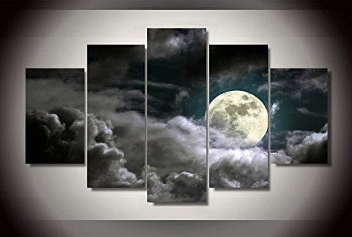 Ruifulex Impresiones sobre Lienzo, 5 Piezas Arte Pinturas de Pared Sala de Estar Dormitorio Fondo Decoración de Pared, Luna en el mar de Nubes sin Marco