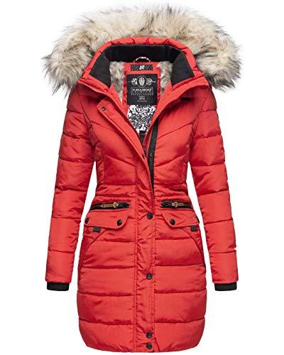 Navahoo Damen Winter Jacke Mantel Parka warm gefütterte Winterjacke B383 [B383-Paula-Rot-Gr.XS]