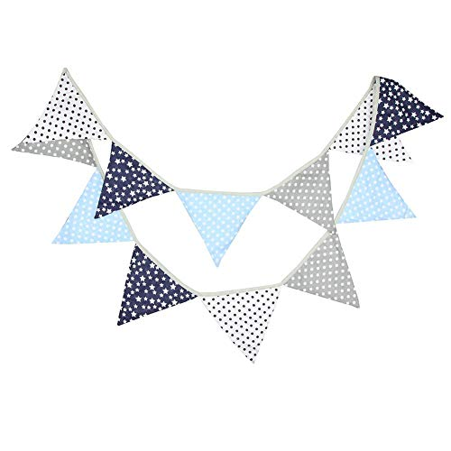 Prosperveil 10.5ft Bunting Banner Flags Fabric Vintage Floral Triangle Flag Pennant Garland for Kids Bedroom Indoor Outdoor Party Decorations (Blue and Grey)
