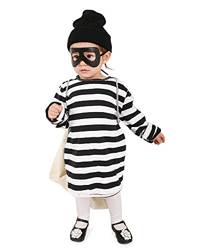 miccostumes Kids Burglar Robber Halloween Costume Hat Mask Bag (one Size) White and Black