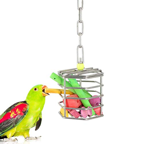 Wontee Bird Stainless Steel Foraging Feeder Parrot Hanging Feeding Box for Macaw African Grey Cockatoo Cockatiel Amazon Cage (Foraging Feeder with Blocks)