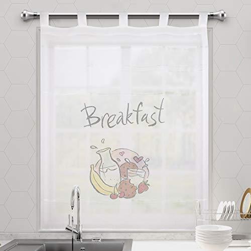DALINA 1 Pieza Cortinas de Cocina con Efecto Visillo Modelo Desayunos 100X140CM