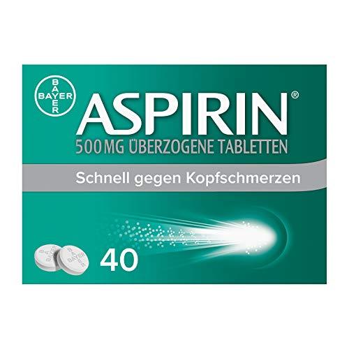 Aspirin 500 mg überzogene Tabletten, besonders schnell und effektiv gegen Kopfschmerzen bei guter Verträglichkeit, 40 Stück