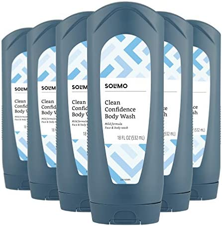 Amazon Brand Solimo Men s Body Wash Clean Confidence 18 Fluid Ounce Pack of 6 product image