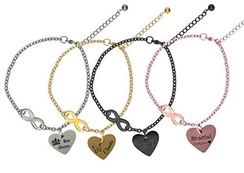 aplusashop Edelstahl Fußkette mit Herzanhänger & Unendlichkeitszeichen + Gravur nach Wunsch in 4 Farben mit Geschenkbeutel (Silber)