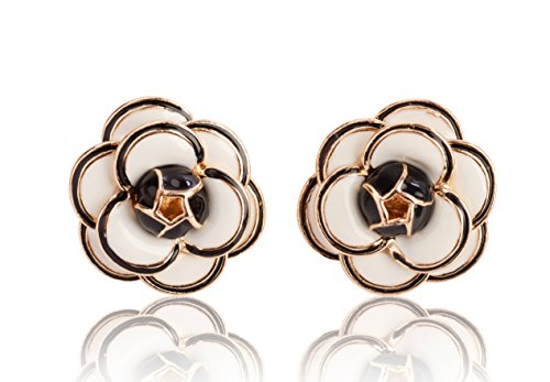 Fashion jewelry designer statement elegant camellia enamel flower rose earrings studs for women (Classic White)
