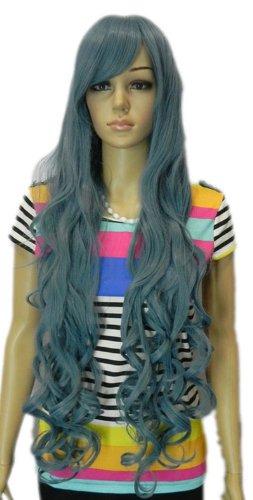 Qiyun Extra Longue Femme Resistant a la Chaleur Ondule Big Waves Pile Bleu Game Resistant a la Chaleur Fibre Synthetique Cheveux Complete Cosplay Anime Costume Perruque
