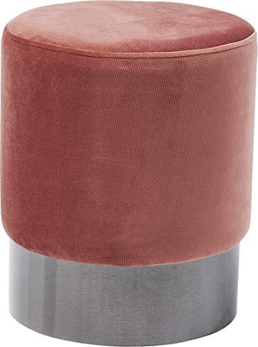 Kare Polsterhocker Cherry, Kleiner, moderner Design Hocker mit Samtbezug, rund, Rose-Anthrazit (H/B/T) 42x35x35cm