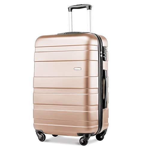 Merax Lightweight Luggage Hard Shell 4 Wheels Travel Trolley Suitcase Holdall Cabin Case (M, Golden)