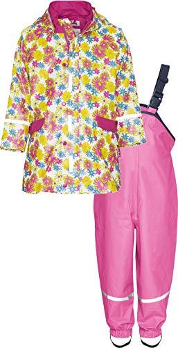 Playshoes Mädchen Regen-Set Blumendruck, Regenanzug, Mehrfarbig (Weiß 1), 80