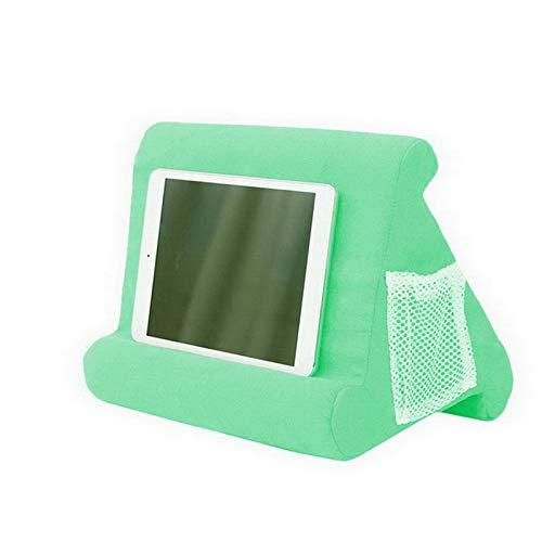 MoneRffi Tablet Kissenständer mit Netztasche Tablet-Ständer, Kissenhalter, Mobile Halterung Tablethalter für Bett, Bücher, Zeitschriften, Tablets, Smartphones, Sofa, für Männer Damen Geschenk, Grün