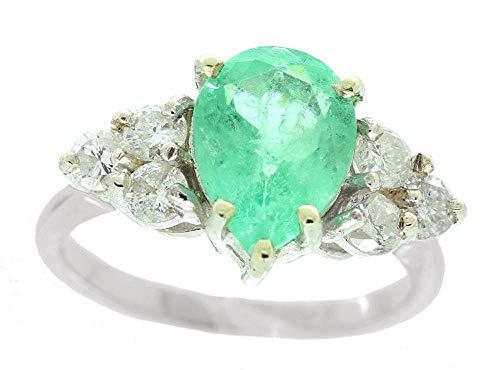Colombian 1.80ct con smeraldi e diamanti a grappolo-Anello in oro bianco 14 k