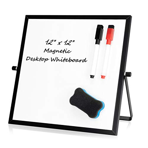 """Small Desktop Dry Erase Whiteboard – 12"""" x 12"""" Magnetic Portable Mini Dry Erase White Board for Students Double Side to Do List Dry Erase Board with Stand for Office, School, Home"""