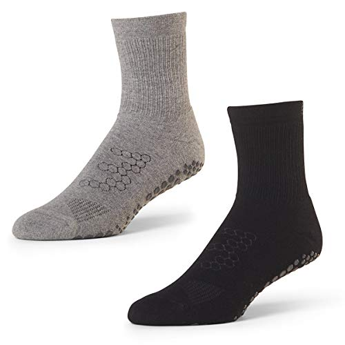Martial Arts, Pilates, Yoga Socks - Base 33 Men's Crew Grip Socks 2 Pack
