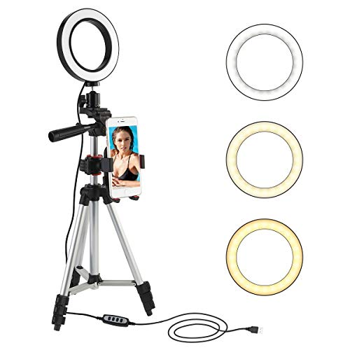 LED Ring Light con supporto per treppiedi Selfie Stick, 5.7