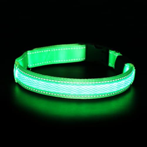 MATCHY2U LED Dog Collar – USB Rechargeable Reflective Light Up Collars for Small Medium Large Dogs