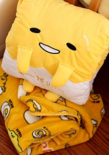 MIAOOWA Official Store Kawaii Hand Warmer Gudetama Lazy Egg Plush Pillow Blanket Staffed Egg Jun Egg Yolk Brother Toy Doll Cute Soft Pillow Cushion 27 x 27 cm Pillow Blanket 1