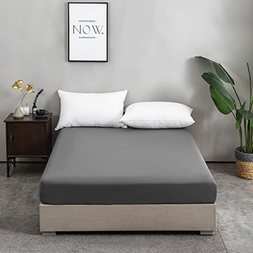 AYSW 100% Baumwolle Dunkelgrau Premium Spannbetttuch/Spannbettlaken 140x200-160x200 cm, für Kinder und Erwachsene
