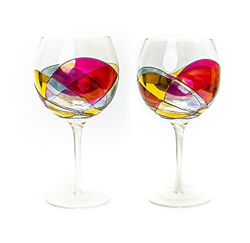 Antoni Barcelona Wine Glasses Balloon 21 oz SET 2 RED LINE Mediterranean Extraordinary Hand Painted Glass Wedding Beautiful Present Anniversary Birthday Women Men Amazing Drink (Set 2)