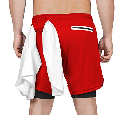 Pantalones Cortos Deporte Hombre Pantalon Corto Running Hombre Deportes con Bolsillos Shorts Cortos Hombre Short Pantalón Corto Correr 2 en 1 Secado Rapido Bañador Natacion Traje de Baño Rojo XL