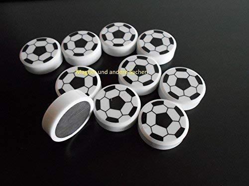 10 neue starke preiswerte Fussball-Magnete schwarz weiß für Pinnwand Kühlschrank etc...