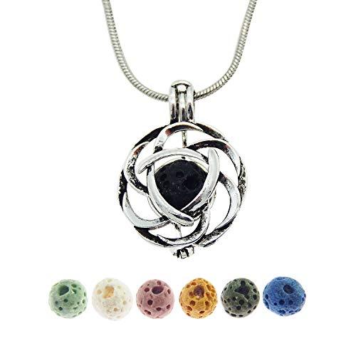 Julie Wang Halskette mit Keltischem-Knoten-Anhänger, Lavastein, Aromatherapie-Halskette, Diffusor für ätherisches Öl