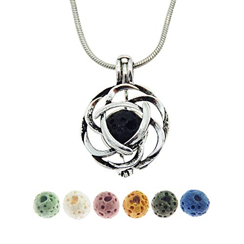 Julie Wang Celtic Knot Pendant Necklace with Lava Stone Aromatherapy Essential Oil Diffuser Necklace Jewelry