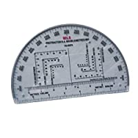 D DOLITY 分度器 測定用具 6インチ 地図 プラスチック 半円分度器
