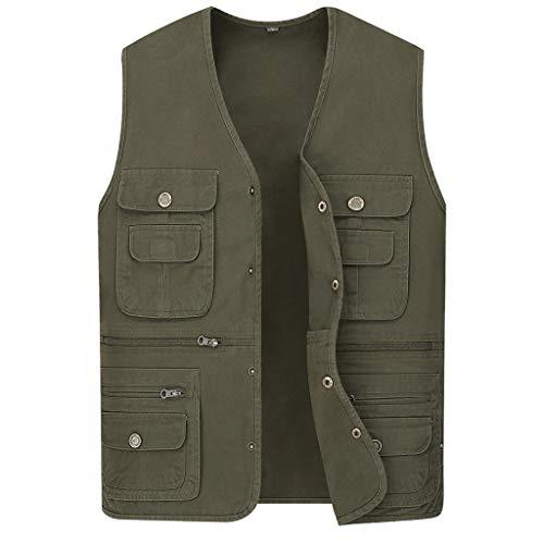 Outdoor-Weste Multi-Pocket-Weste Baumwolle Weste Angeln Weste Herren Weste (Farbe : Armeegrün, größe : XXL)