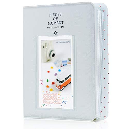 Amimy 64 Taschen Foto Album für Fujifilm Instax Mini 7 s 8 8 + 9 25 50 s 70 90, Polaroid Snap PIC-300, HP Ritzel, Kodak Mini 3-Zoll-Film mit bunten Aufklebern (Rauchiges Weiß)