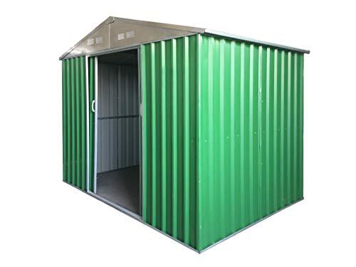 Eurobrico Casetta Garage da Giardino Porta Utensili Box in LAMIERA ZINCATA 0,27 mm Verniciata di Verde con Porte scorrevoli (XL L267 x P300 x H194)