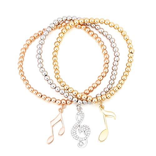 JinHan, 3 braccialetti per donne e ragazze con zircone cubico intarsio note musicali, braccialetto delicato e alla moda, con catena elastica, regalo di compleanno