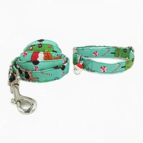 FANJIA Collar De Perro Gorro De Papá Noel Feliz Navidad Collar De Perro Y Gato Conjunto De Correa con Pajarita Y Campana De Papá Noel Collar De Perro Y Gato Mascotas
