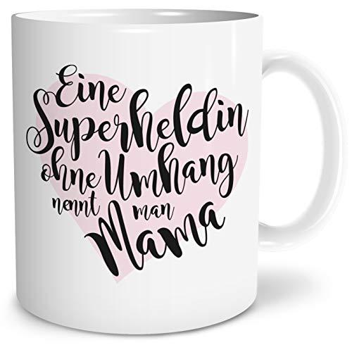 OWLBOOK Superheldin Mama große Kaffee-Tasse mit Spruch im Geschenkkarton Geschenkidee Geschenke Muttertag Muttertagsgeschenk Mutti Mutter