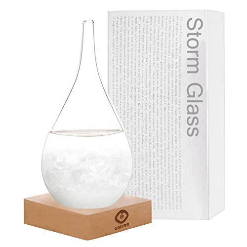 Storm Glass Weather Forecaster, Drop-Shaped Fashion and Creative Desktop Weather Forecast Barometer, Suitable for Small Weather Stations in Homes and Offices