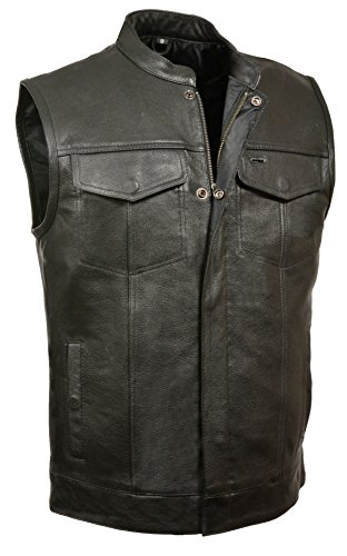 Milwaukee Leather Men's Open Neck Snap/Zip Front Club Style Vest (Black, X-Large)
