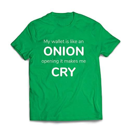 lepni.me Männer T-Shirt Meine Brieftasche ist wie eine Zwiebel, Kein Geld Lustiger Job, Büro-Humor (X-Large Grün Mehrfarben)