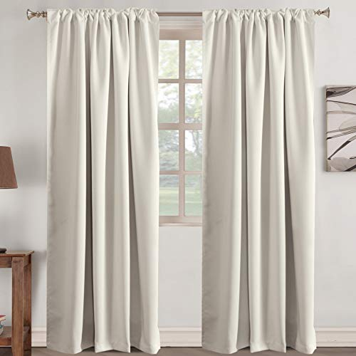 Window Treatment Elegant Curtains for Living Room Home Decor Panels Rod Pocket Tab Curtain Drapes Thermal Insulated Room Darkening Window Drapes 2 Panel, Cream Beige 52 inch Wide by 84 inch Long