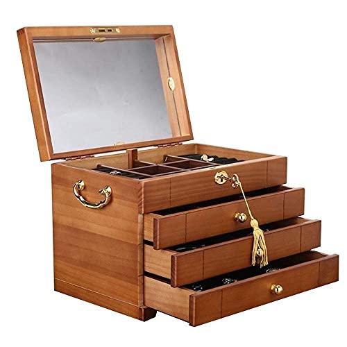 JIANGCJ Bella Caja de Joyas de Madera Joyas de Alta Capacidad de 4 Capas Cofre con joyería de Espejo Organizador Caja para Pendientes Anillos Collares Caja de talismán
