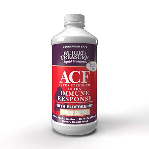 Buried Treasure ACF Extra Strength Extreme Immune Support with Elderberry Echinacea Vitamin C and Herbal Blend for Comprehensive Rapid Relief 16 Fluid Ounce Buried Treasure Vitamin C Vitamins