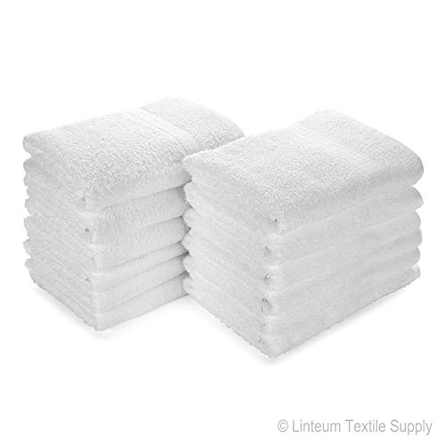 Linteum Textile (12-Pack, 20x40 in, White) Hotel-Quality Hair Towels, 100% Cotton
