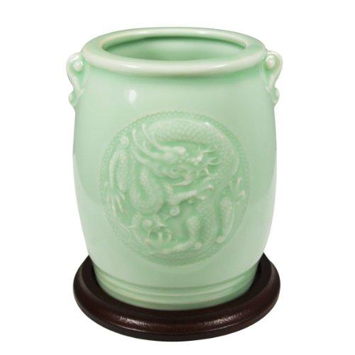 Wrapables Regalos y decoración de dragón Chino y Phoenix jarrón de cerámica celadón, 11,43cm