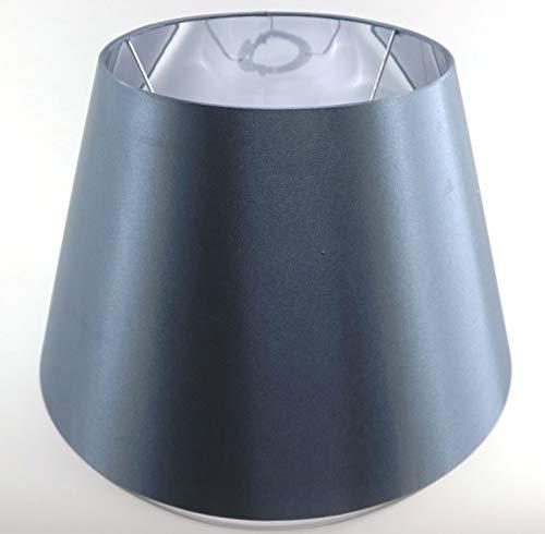Designer-Lampenschirm-Satin-Petrol rund-konische Form Ø 40cm innen Chrom