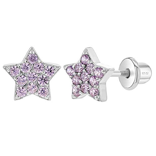 Orecchini a perno a forma di stella in argento Sterling 925, con chiusura a vite, ideali per bambine e bambine e Argento, colore: rosa, cod. SS-03-00330