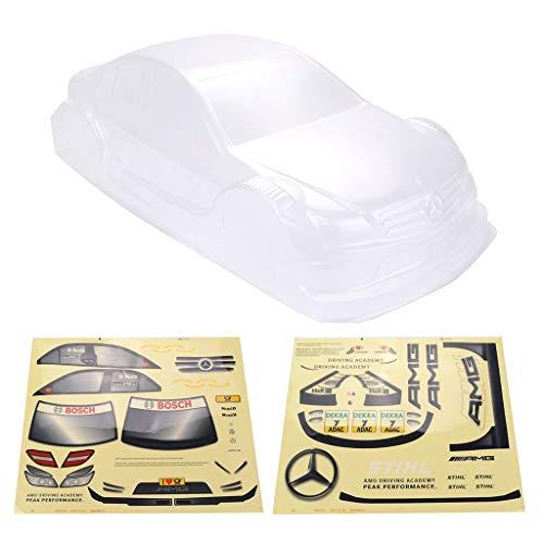 Ocamo Toys Zubehör,Spielzeugauto Zubehör,1/10 RC Drift Auto Onroad Auto PC Karosserie für Yokomo Tourenwagen Tamiya HPI Kyosho HSP Redcat FS Acme LRP Transparent 1/10