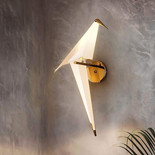 SWNN Luces de Pared Protección del Medio Ambiente PP Mil Grullas de Papel Lámpara de Pared Creativa del LED Restaurante Sala de Estar Dormitorio Estudio Personalidad Lámpara de Pared Simple pájaro