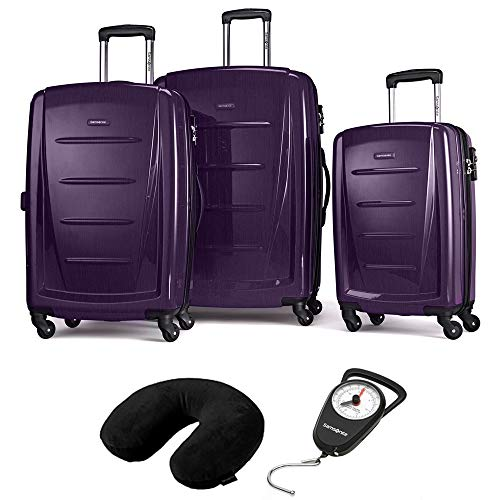 Samsonite 56847-1717 Winfield 2 Fashion Hardside 3 Piece Spinner Set Purple Bundle Microbead Neck Pillow Black and Luggage Scale Compact and Portable